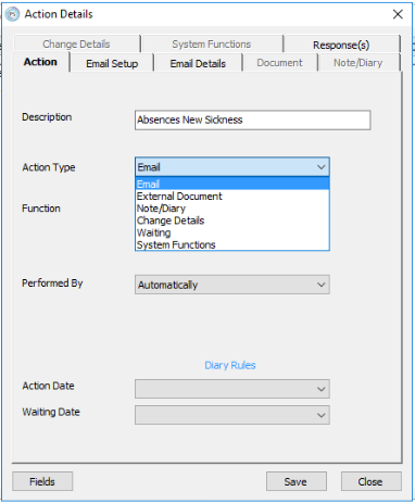 Managing Email Actions