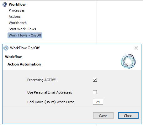 Set Worflow Processing ACTIVE